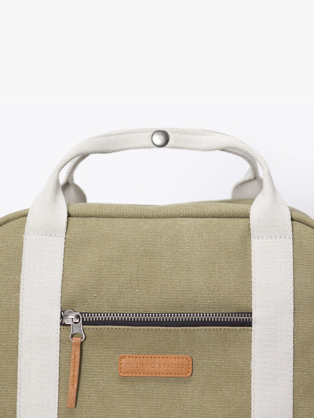 Vegan leather details of Ison laptop backpack