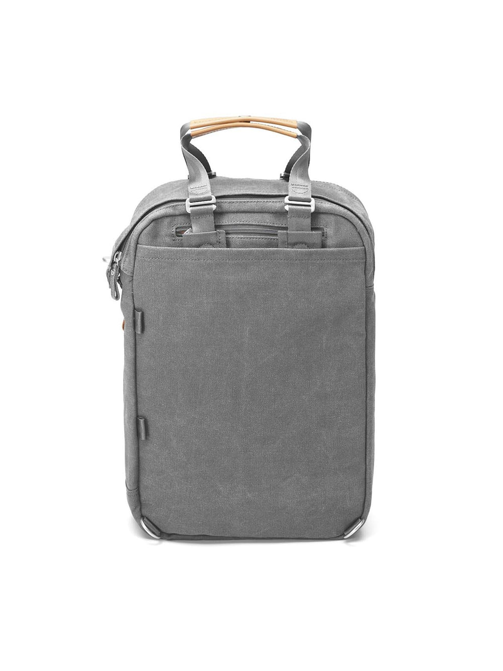 Qwstion Daypack in washed Grey features foldable shoulder straps