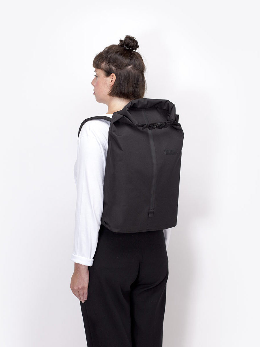 Frederik backpack capacity is 16l rolled in and 20l rolled out.