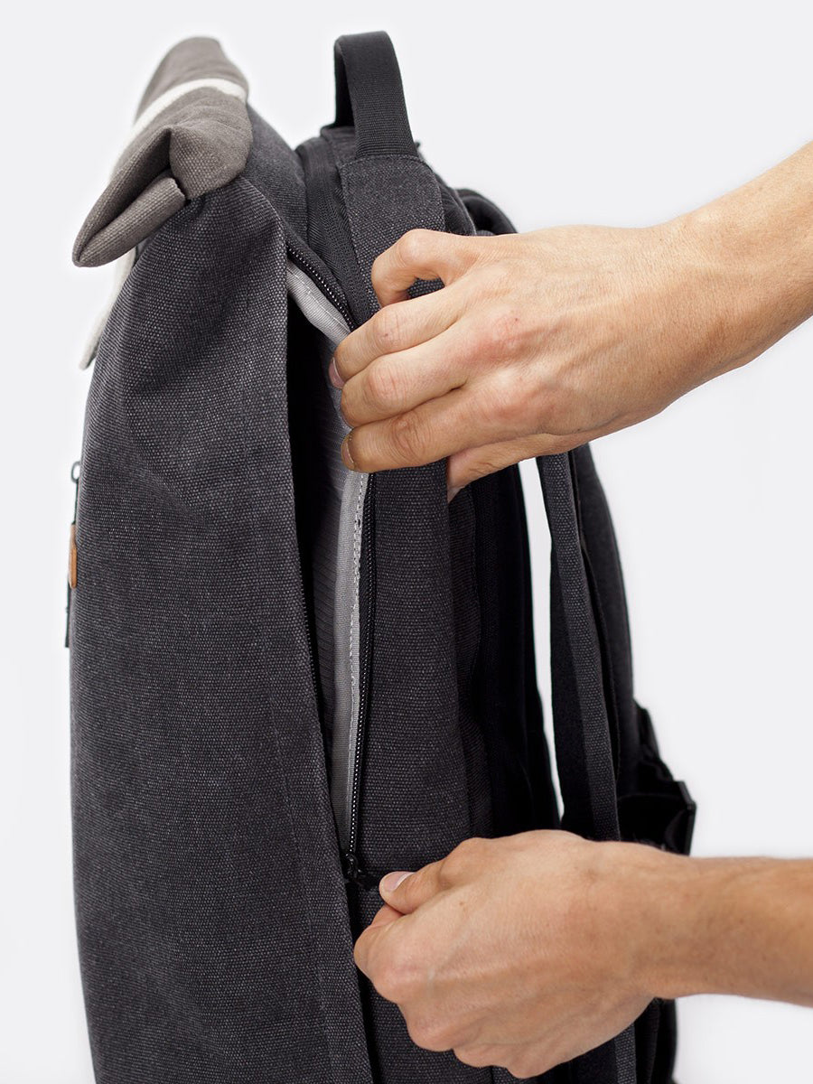 Hajo Pro backpack size zipped access to the main compartment.