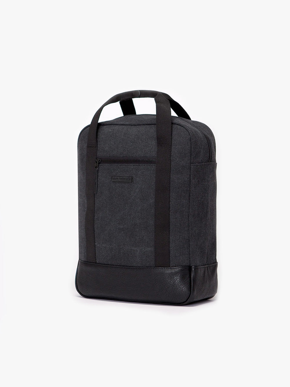 Cotton canvas Ison urban backpack with vegan leather bottom.