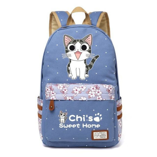 Adorable Chi Sweet Home Backpack Meow Blue Flower Backpack