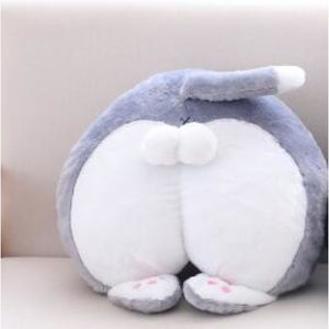 All Cat Butts You Will Ever Need Cushion / Gray & White Butt Fluffy Pillow