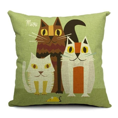 Art Cat Pillow Covers 3 Kitties Colored