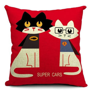 Art Cat Pillow Covers The Couple Colored