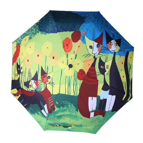 Artful Chubby Cat Umbrella Full Spring Umbrella