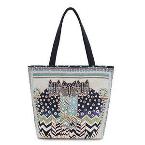 Cat In The Bag By Laurel Burch Spotted Cats Shoulder Bag