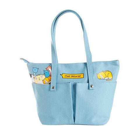Family Of Kitties Shoulder Bag Sky Blue Shoulder Bag