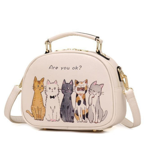 Fluffy Cats Gathering Bag Beige Shoulder Bag
