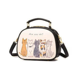 Fluffy Cats Gathering Bag Black Shoulder Bag