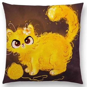 Irresistible Kitties Pillow Covers Yellow Fluffy Colored Pillow