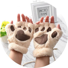 Kittens Paw Gloves Beige Fluffy Wear