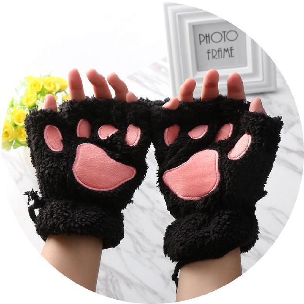 Kittens Paw Gloves Black Fluffy Wear