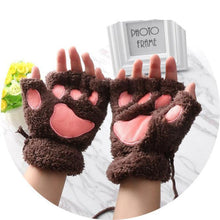 Kittens Paw Gloves Dark Coffee Fluffy Wear