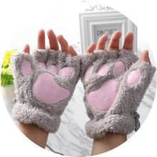 Kittens Paw Gloves Gray Fluffy Wear