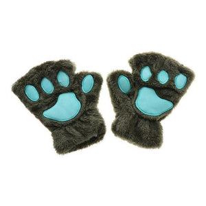 Kittens Paw Gloves Green Fluffy Wear