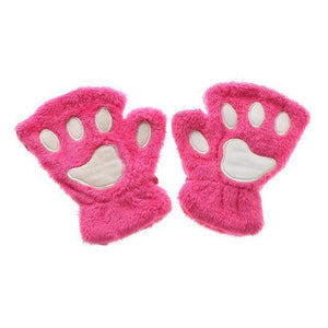 Kittens Paw Gloves Lavender Fluffy Wear