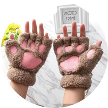 Kittens Paw Gloves Llight Coffee Fluffy Wear