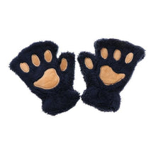 Kittens Paw Gloves Navy Fluffy Wear