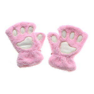 Kittens Paw Gloves Pink Fluffy Wear