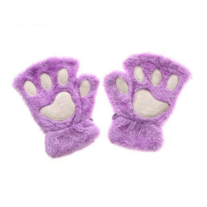 Kittens Paw Gloves Purple Fluffy Wear