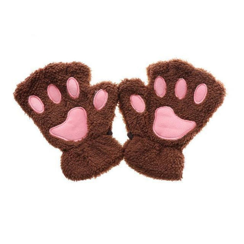 Kittens Paw Gloves Silver Fluffy Wear