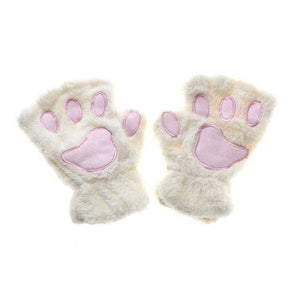 Kittens Paw Gloves White Fluffy Wear