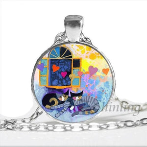 Kitty Medallion Of Rosina Wachtmeister Flying Hearts / Silver Pendant