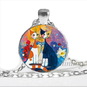 Kitty Medallion Of Rosina Wachtmeister Happy Family / Silver Pendant