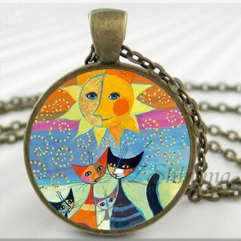 Kitty Medallion Of Rosina Wachtmeister Sun / Silver Pendant