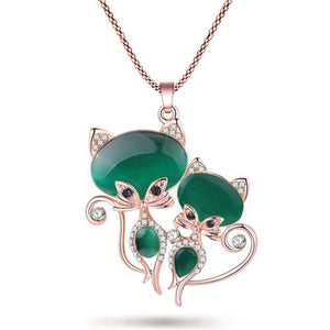 Little Cat Sisters Pendant Emerald Pendant