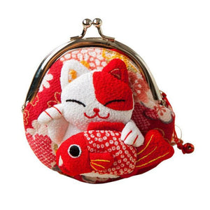 Maneki Neko Fluffy Kitty Coin Purse Lucky Fish Wallet