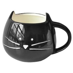 Morning Kitty Mustache Cup Black Mug