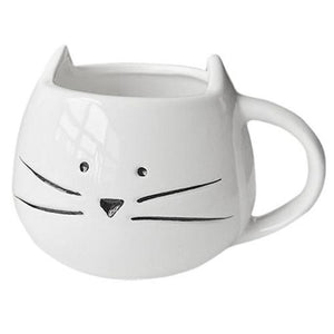 Morning Kitty Mustache Cup White Mug