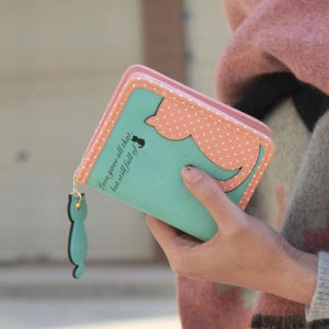 Purrfect Kitty Wallet Green Purse