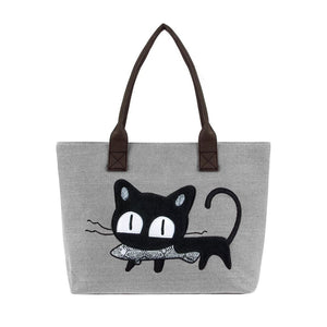 Purrfect Meow Shoulder Bag Gray Shoulder Bag
