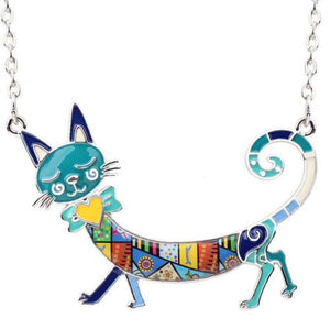 Round The World Travelling Kitty Bluish Pendant