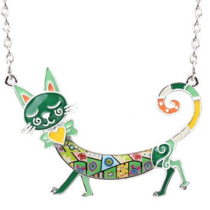 Round The World Travelling Kitty Greenish Pendant