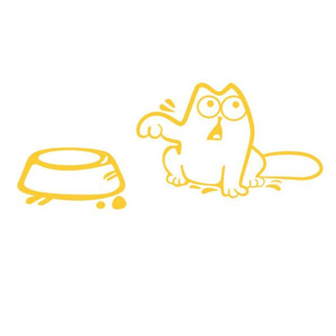 Simons Cat Is Hungry Sticker Yellow Stickers