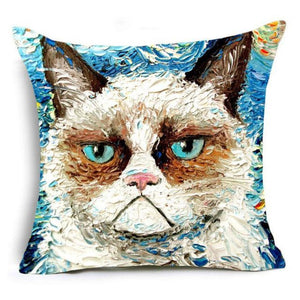 Super Meow Pillow Cover Smiley Fluffy
