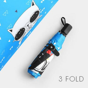 Super Popstar Kitty Umbrella Blue 3 Fold Umbrella