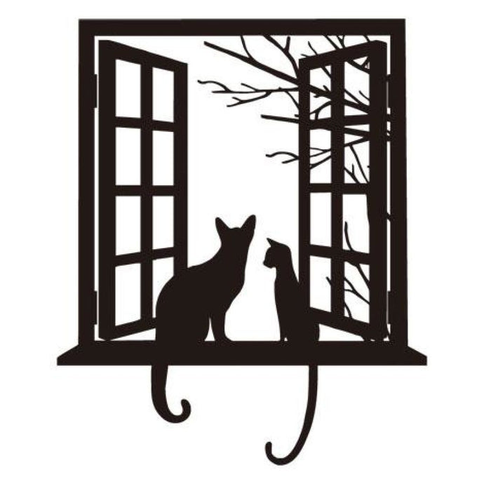 Two Kitties And A Window Black / 44Cm X 52Cm Wall Decoration