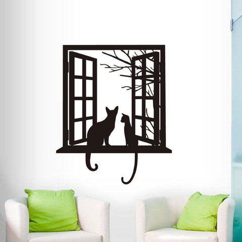 Two Kitties And A Window Wall Decoration