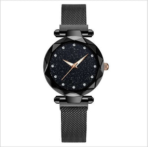 Luxury Women Watch Fashion Elegant Magnet Buckle Vibrato Purple Ladies Wristwatch Starry Sky Roman Numeral Gift Clock