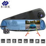 E-ACE Dvr Dash Camera Car Dvr mirror FHD 1080P 4.3 Inch Dual Lens With Rear View Camera Auto Video Recorder Registratory