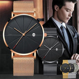 The Latest Simple Men's Stainless Steel Watch Classic Quartz Date Watches Business Casual Mesh Belt Wristwatch Masculine Relogio