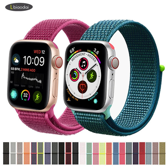 Nylon strap For Apple Watch band 42mm 38mm iWatch 4 band 44mm 40mm Bracelet Sport loop watchband watch correa belt Breathable