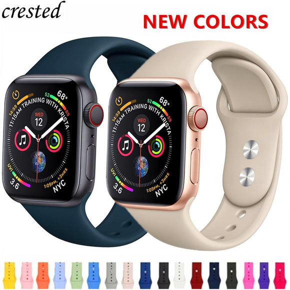 Silicone strap For Apple Watch band 38mm 42mm iwatch 4 Band 44mm/40mm Sport bracelet Rubber watchband for apple watch 4 3 2 1