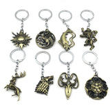 Game of Thrones Keychain House Stark Key Chain Song of Ice and Fire Key Rings Holder Souvenir for Gift Chaveiro Men Jewelry