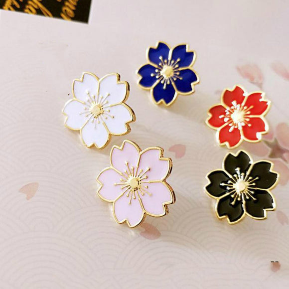Qiaoyue sweet cherry blossom brooch Drip flower collar pin badges Clothing bags accessories Female accessories
